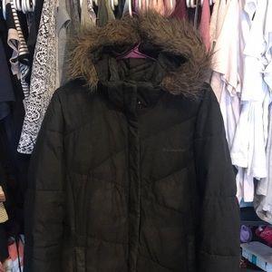 Columbia black fur hood parka